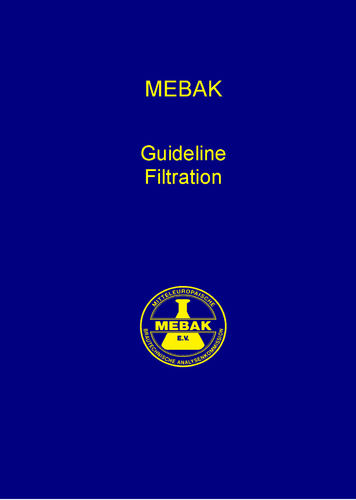 MEBAK Guideline Filtration